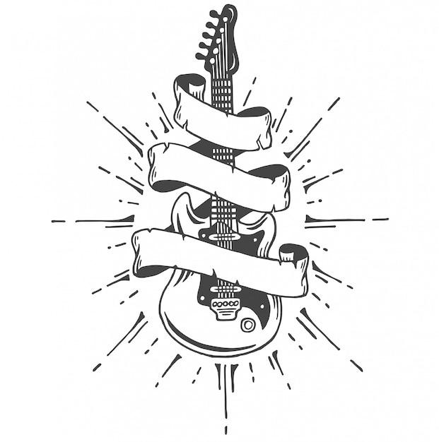Hand gezeichnete e-gitarre mit band und text. heavy metal style. Kostenlosen Vektoren