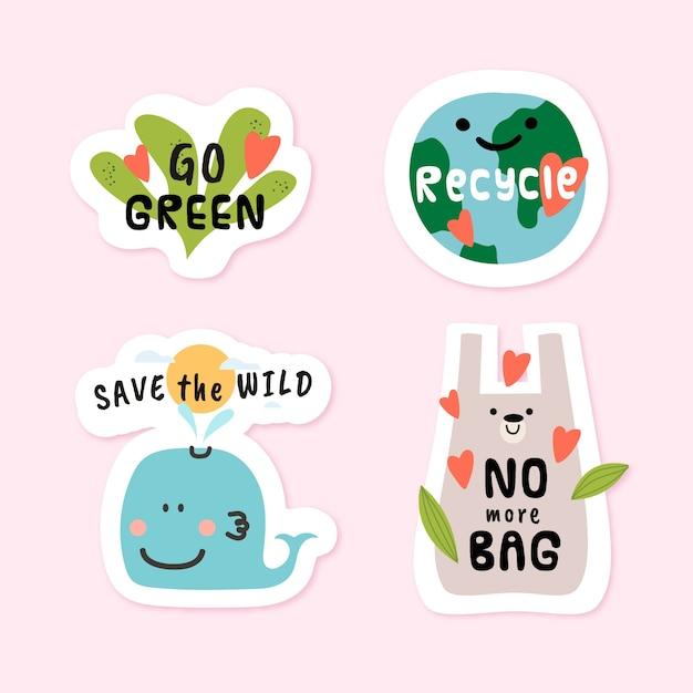 Hand gezeichnete eco ausweise mit grüner umwelt Kostenlosen Vektoren