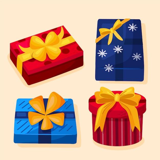 Hand gezeichnete eingewickelte geschenkboxen für weihnachten Kostenlosen Vektoren