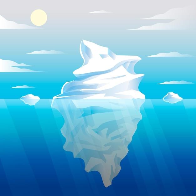 Hand gezeichnete eisbergillustration Kostenlosen Vektoren