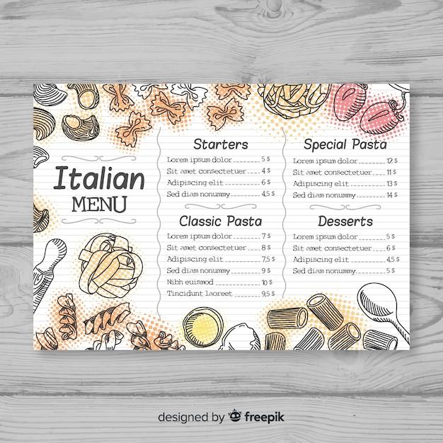 Hand gezeichnete elegante restaurantmenüschablone Kostenlosen Vektoren