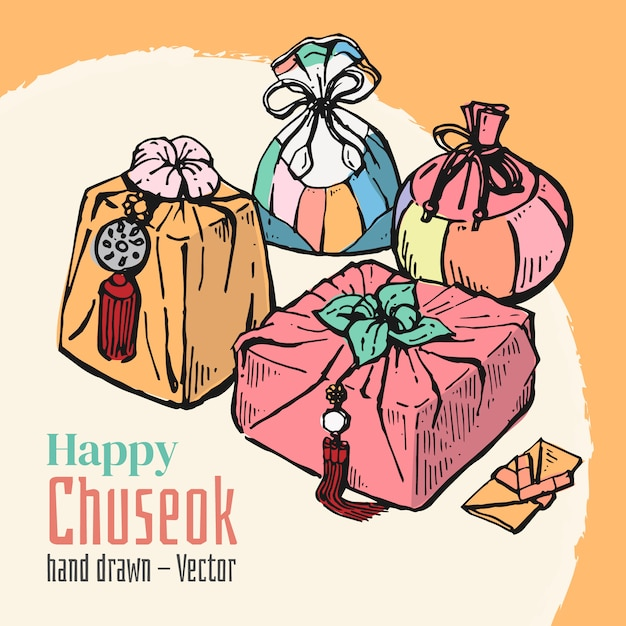 Hand gezeichnete elemente von glücklichem chuseok. mittlerer herbstvollmond-festivalhintergrund. Premium Vektoren