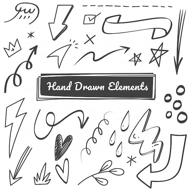 Hand gezeichnete elementgekritzel Premium Vektoren