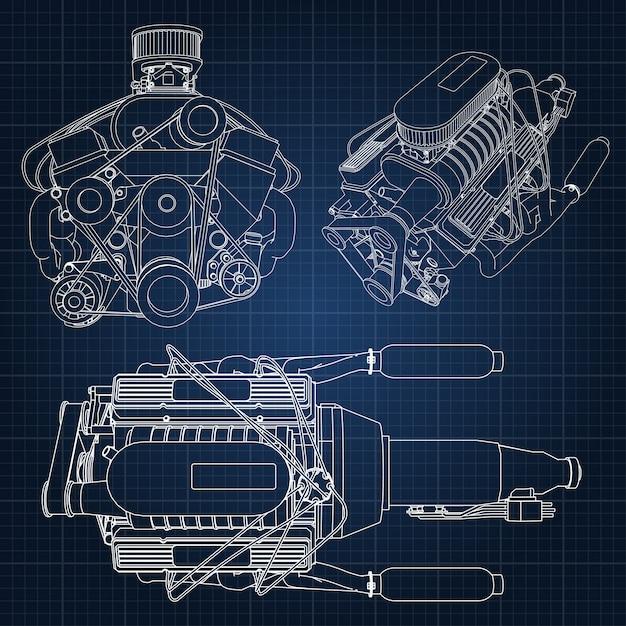 Hand gezeichnete engine blaupause Premium Vektoren