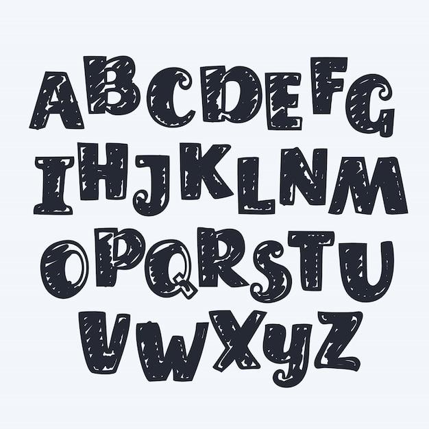 Hand gezeichnete englische buchstaben. abc Premium Vektoren
