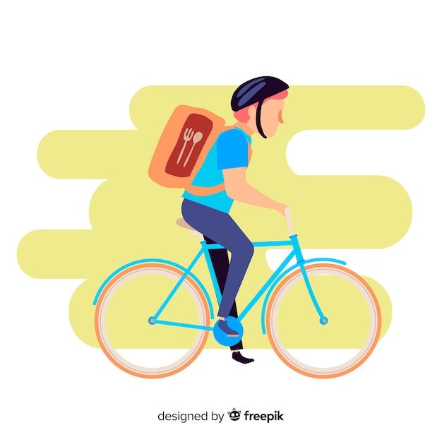 Hand gezeichnete fahrradlieferungs-konzeptillustration Kostenlosen Vektoren