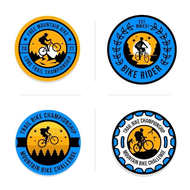 Hand gezeichnete fahrradlogosammlung Premium Vektoren