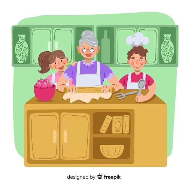 Hand gezeichnete familie, die hintergrund kocht Kostenlosen Vektoren