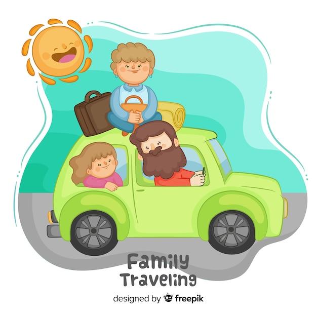 Hand gezeichnete familie, die mit dem auto hintergrund reist Kostenlosen Vektoren