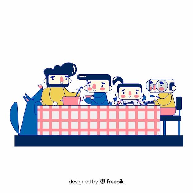 Hand gezeichnete familie, die um tabelle sitzt Kostenlosen Vektoren