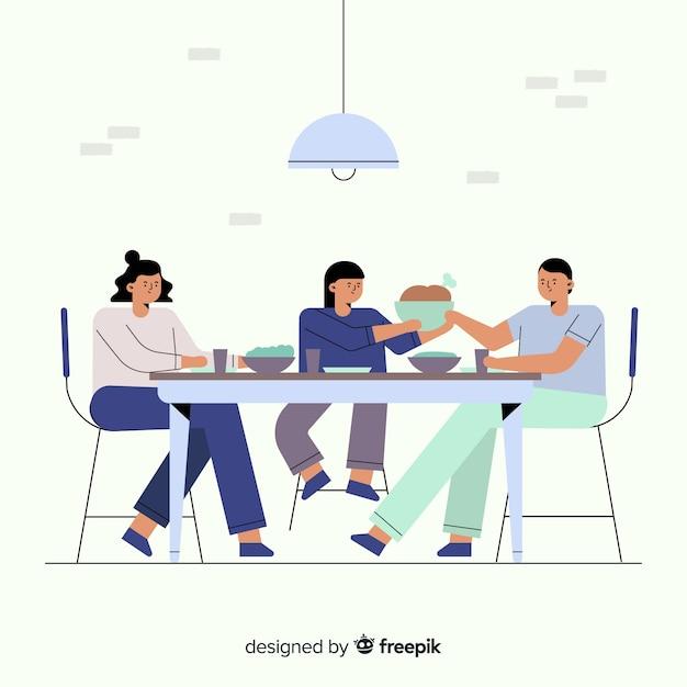 Hand gezeichnete familie, die um tabellenhintergrund sitzt Kostenlosen Vektoren
