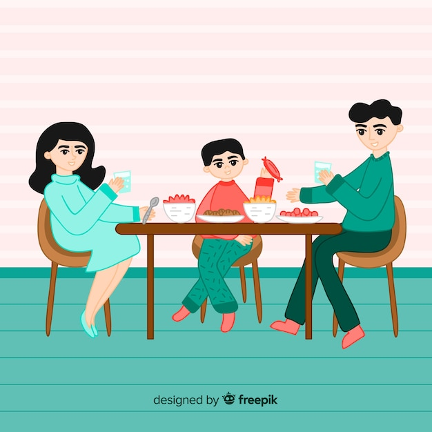 Hand gezeichnete familie, die um tabellenillustration sitzt Kostenlosen Vektoren