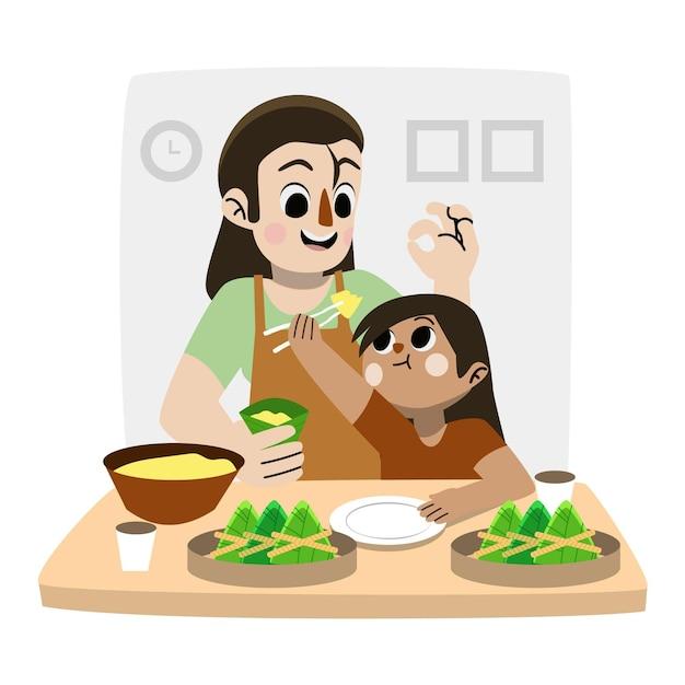 Hand gezeichnete familie, die zongzi vorbereitet und isst Kostenlosen Vektoren