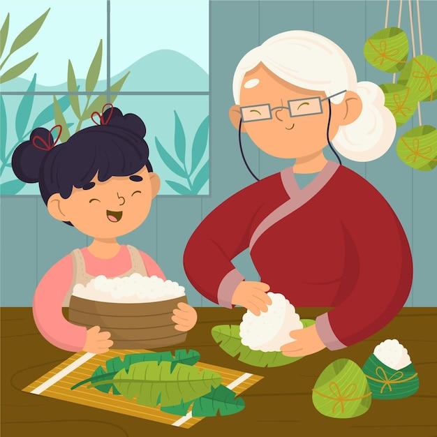 Hand gezeichnete familie, die zongzi vorbereitet Kostenlosen Vektoren