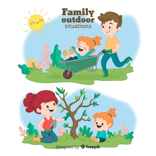 Hand gezeichnete familie im garten Kostenlosen Vektoren