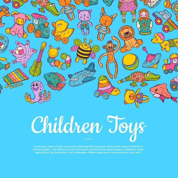 Hand gezeichnete farbige kinder oder kinderspielwaren mit platz für text auf blau Premium Vektoren