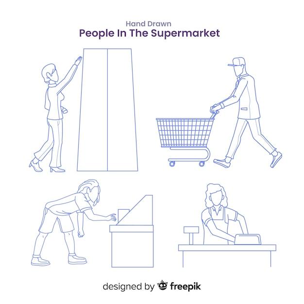 Hand gezeichnete farblose leute im supermarktsatz Kostenlosen Vektoren