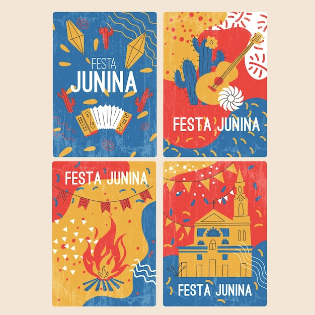 Hand gezeichnete festa junina kartensammlung Premium Vektoren