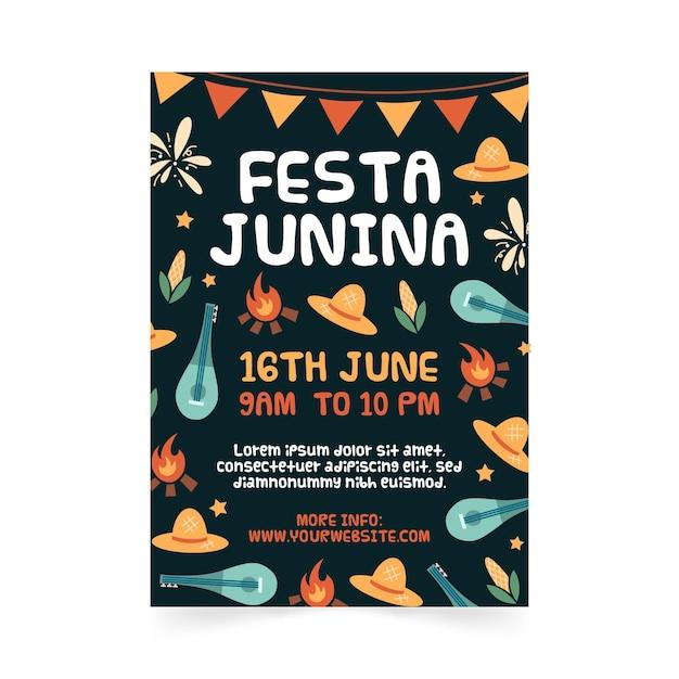 Hand gezeichnete festa junina plakatschablone Kostenlosen Vektoren