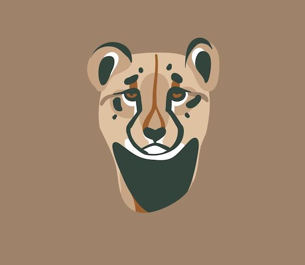 Hand gezeichnete flache stock abstrakte grafikillustration mit afrikanischen wilden gepardenkopfkarikaturtierlogo-branding-designelementen lokalisiert auf pastellhintergrund. Premium Vektoren