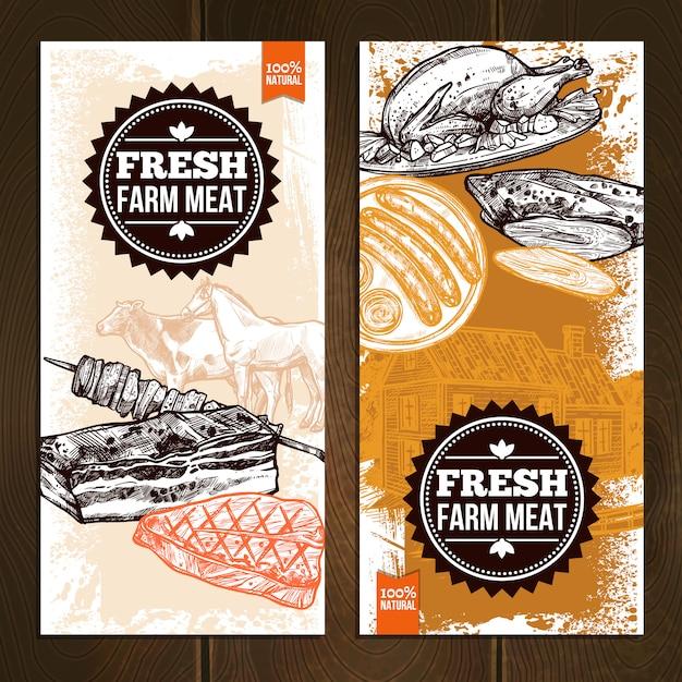 Hand gezeichnete fleisch-nahrungsmittelvertikale fahnen Kostenlosen Vektoren