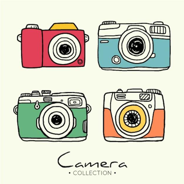 Hand gezeichnete foto-kamera-sammlung Kostenlosen Vektoren