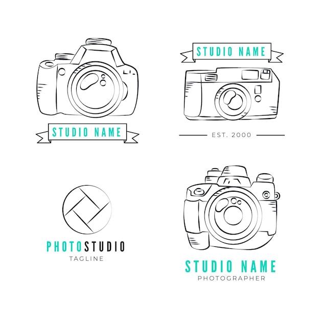 Hand gezeichnete fotografie studio logo sammlung Kostenlosen Vektoren