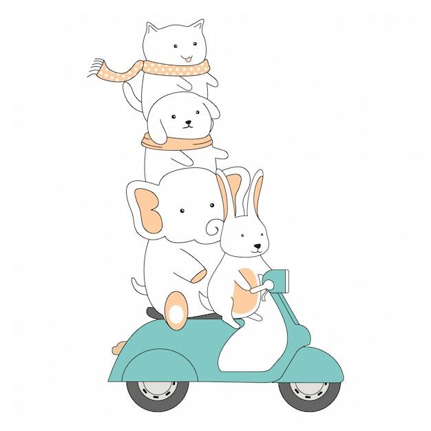 Hand gezeichnete freundschafts-fahrroller-zusammen nette tier-karikatur Premium Vektoren