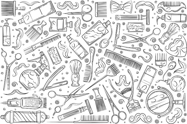 Hand gezeichnete friseurwerkzeuge Premium Vektoren
