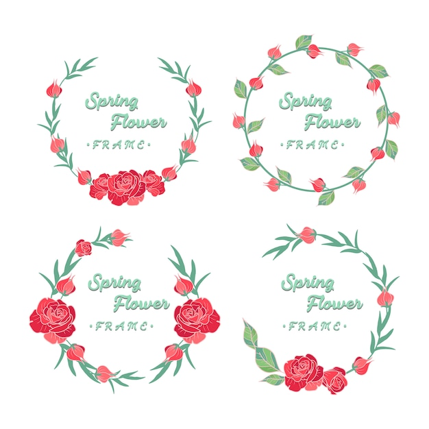 Hand gezeichnete frühlings-rote rosen-kranz-sammlung Premium Vektoren