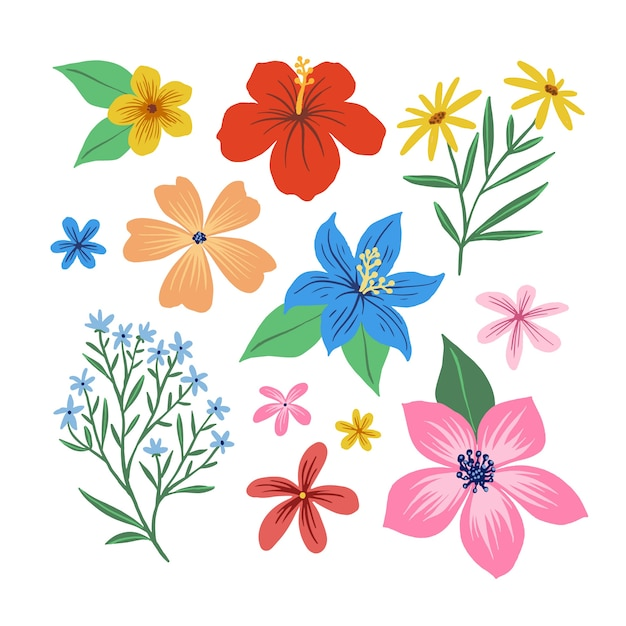Hand gezeichnete frühlingsblumensammlung Kostenlosen Vektoren