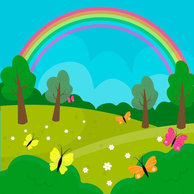 Hand gezeichnete frühlingslandschaft mit regenbogen und natur Kostenlosen Vektoren