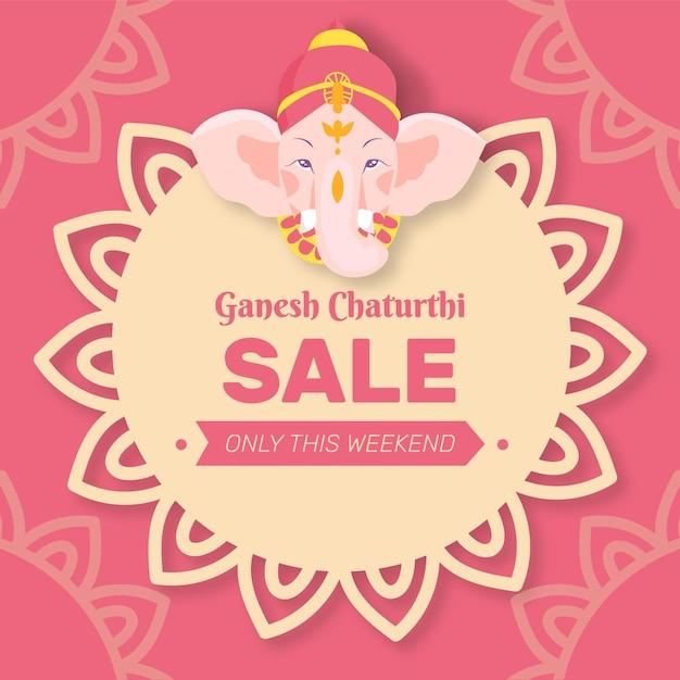 Hand gezeichnete ganesh chaturthi verkäufe Premium Vektoren