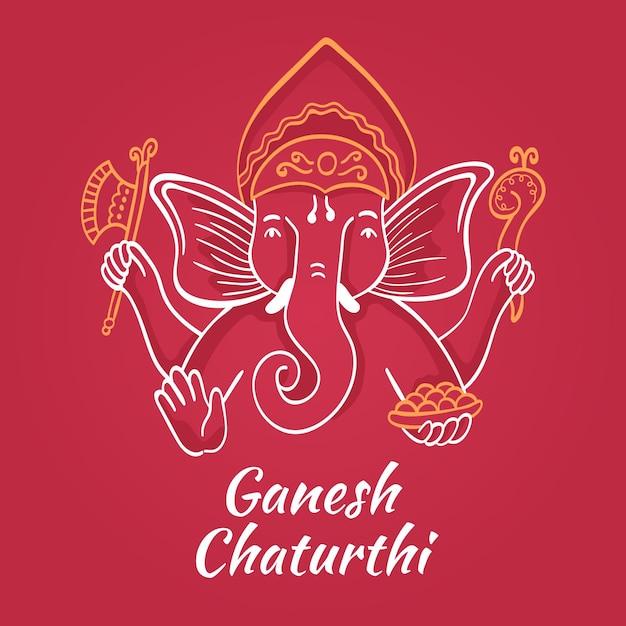 Hand gezeichnete ganesh chaturthi Premium Vektoren