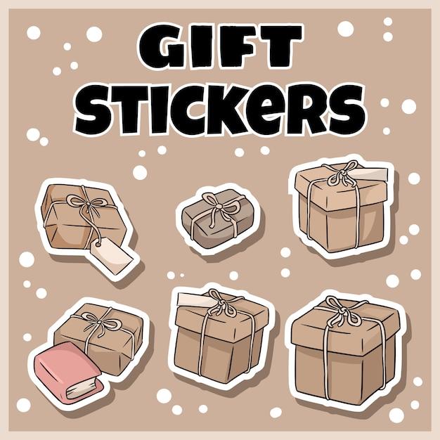 Hand gezeichnete geschenkboxaufkleber eingestellt Premium Vektoren