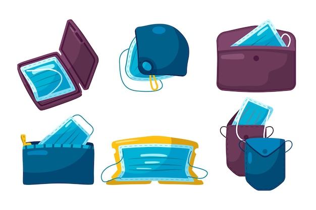 Hand gezeichnete gesichtsmasken-aufbewahrungskoffer-sammlung Kostenlosen Vektoren