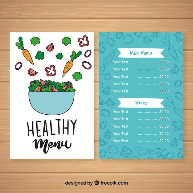 Hand gezeichnete gesunde menüschablone der salatschüssel Kostenlosen Vektoren