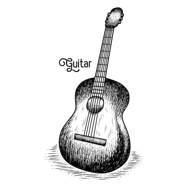 Hand gezeichnete gitarre Premium Vektoren