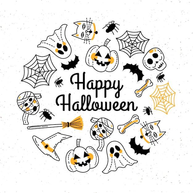 Hand gezeichnete glückliche halloween-grußkarte schablone Kostenlosen Vektoren