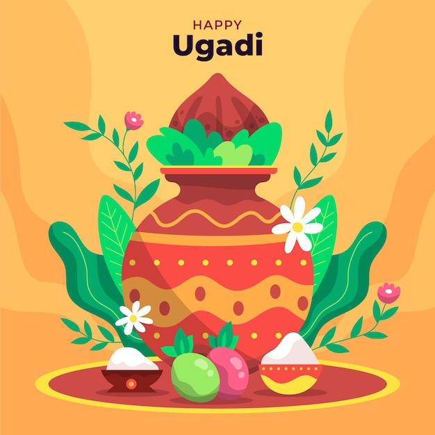 Hand gezeichnete glückliche ugadi illustration Kostenlosen Vektoren