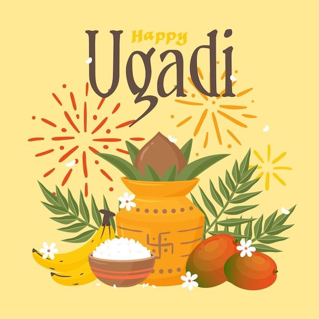 Hand gezeichnete glückliche ugadi illustration Premium Vektoren