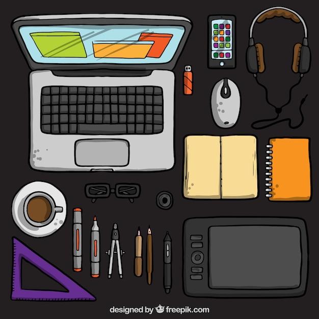 Hand gezeichnete grafik designer schreibtisch download for Grafik designer