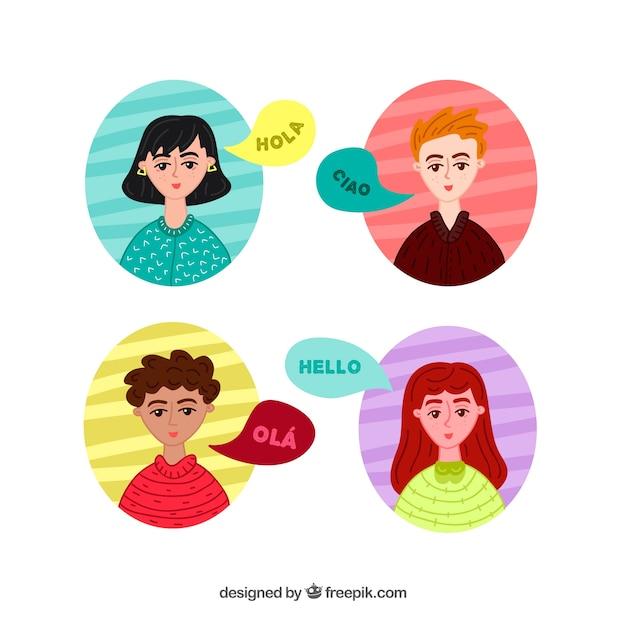 Hand gezeichnete gruppe von personen, die verschiedene sprachen spricht Kostenlosen Vektoren