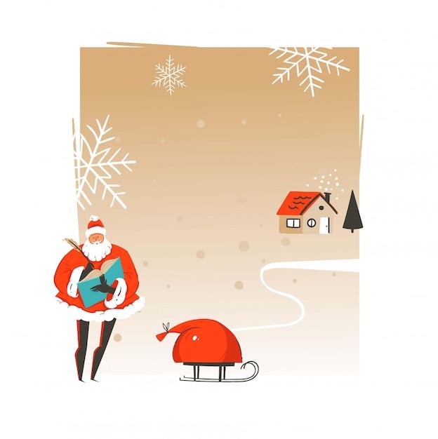 Hand gezeichnete grußkartenschablone der frohen weihnachten und des guten rutsch ins neue jahrzeit-weihnachtsmannillustrationen mit weihnachtsmann und kopieren platz für ihren text auf bastelpapierhintergrund Premium Vektoren