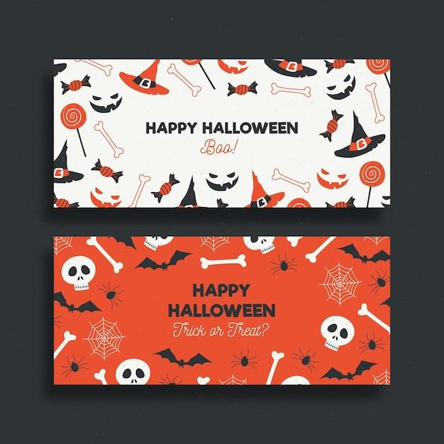 Hand gezeichnete halloween-bannerschablone Kostenlosen Vektoren
