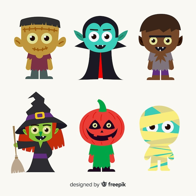 Hand gezeichnete halloween-charaktersammlung für kinder Kostenlosen Vektoren