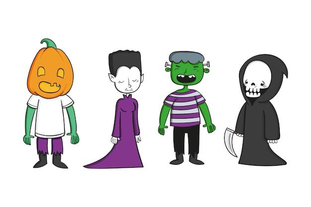 Hand gezeichnete halloween-charaktersammlung Kostenlosen Vektoren