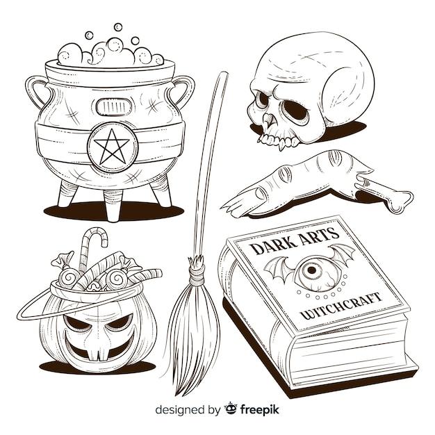 Hand gezeichnete halloween-elementsammlung im bleistift Kostenlosen Vektoren