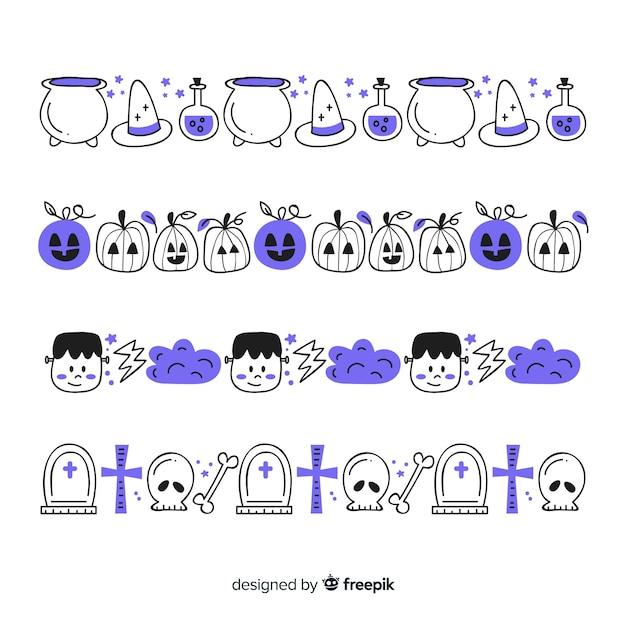 Hand gezeichnete halloween-grenzsammlung in den purpurroten schatten Kostenlosen Vektoren