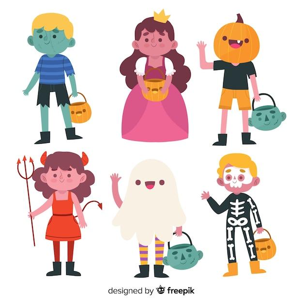 Hand gezeichnete halloween-kindersammlung Kostenlosen Vektoren